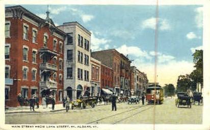 Main Street - St Albans, Vermont VT Postcard
