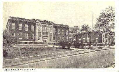 High School - Springfield, Vermont VT Postcard