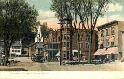 Main Street - Springfield, Vermont VT Postcard