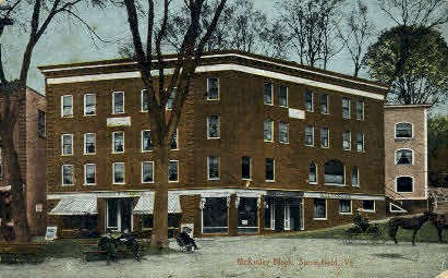 McKinley Block - Springfield, Vermont VT Postcard