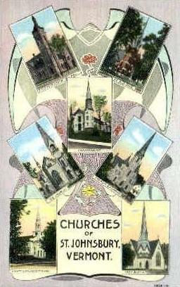 Churches - St Johnsbury, Vermont VT Postcard