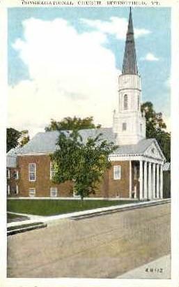 Congregational Church - Springfield, Vermont VT Postcard