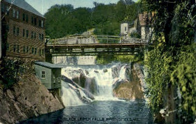 Black Upper Falls - Springfield, Vermont VT Postcard