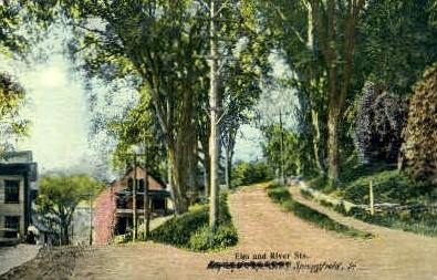 Elm Street - Springfield, Vermont VT Postcard