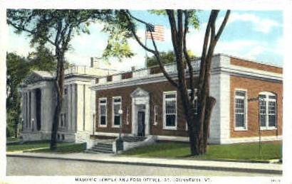 Masonic Temple - St Johnsbury, Vermont VT Postcard