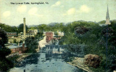 Lower Falls - Springfield, Vermont VT Postcard