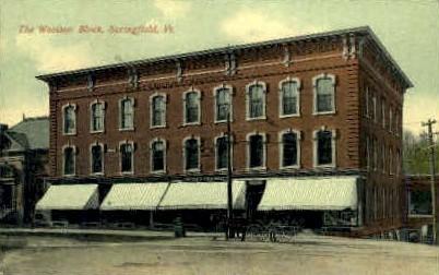 Woolson Block - Springfield, Vermont VT Postcard