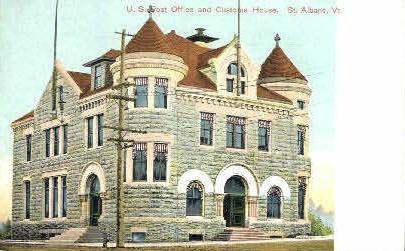 Post Office - St Albans, Vermont VT Postcard