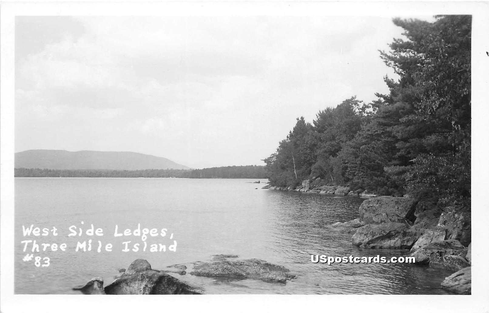 West Side Ledges - Three Mile Island, Vermont VT Postcard