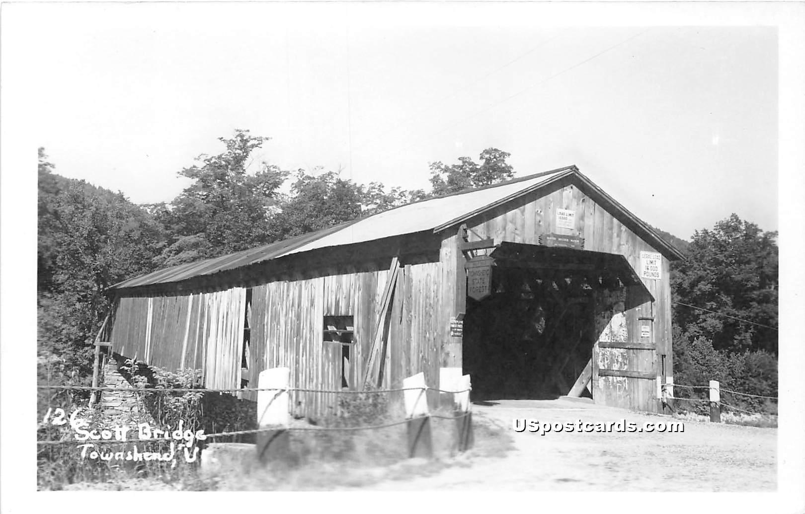 Scott Bridge - Townshend, Vermont VT Postcard