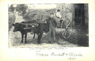 Farmer Lad and Lassie - Tunbridge, Vermont VT Postcard