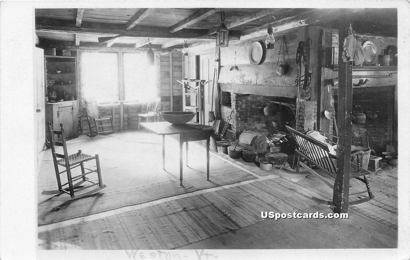 Fireplace - Weston, Vermont VT Postcard