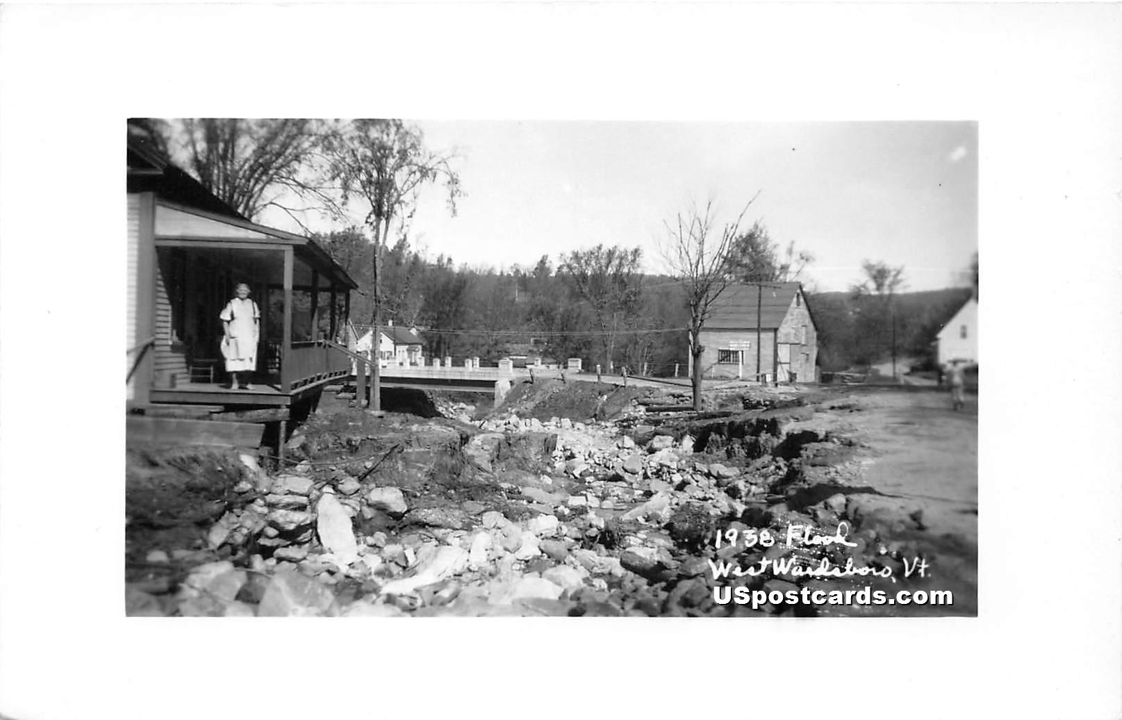 1938 Flood - West Wardsboro, Vermont VT Postcard