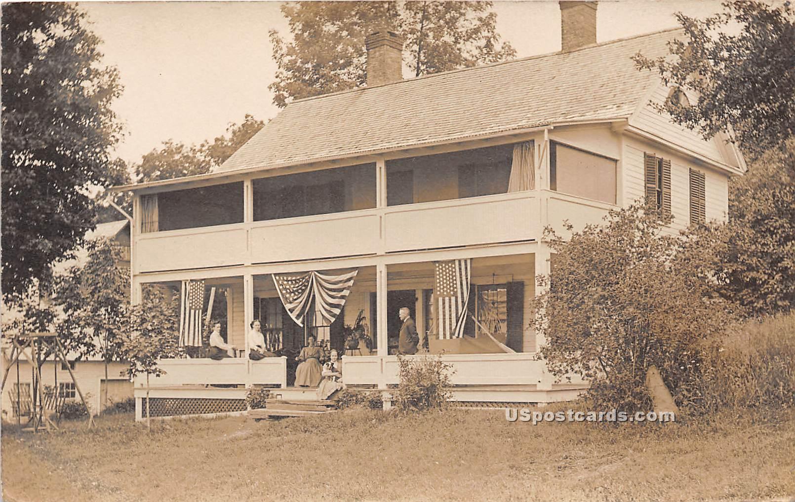 Flags on Buildings - Winham, Vermont VT Postcard