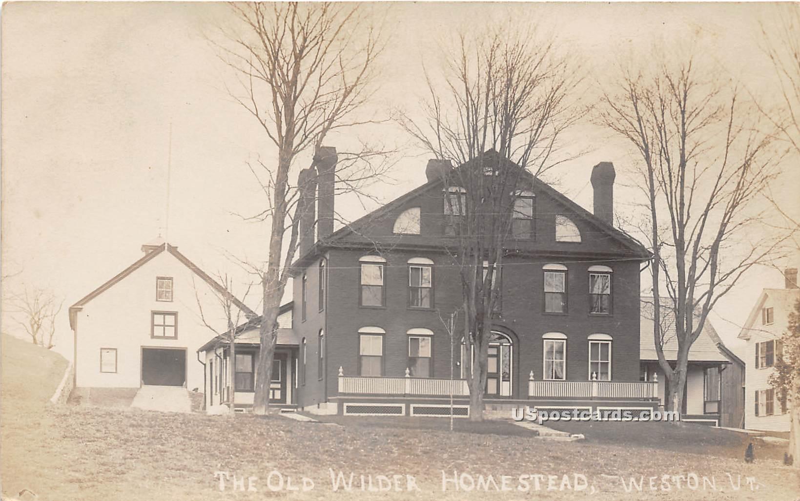 Old Wilder Homestead - Weston, Vermont VT Postcard