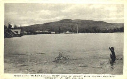 Flood Scene - Waterbury, Vermont VT Postcard