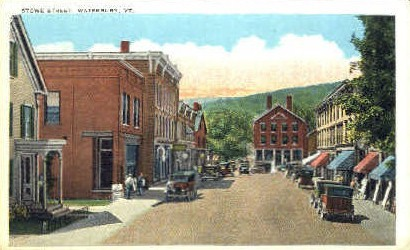 Stowe Street - Waterbury, Vermont VT Postcard