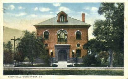 Town Hall - Woodstock, Vermont VT Postcard