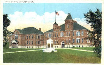 High School - Waterbury, Vermont VT Postcard