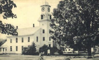 Town Hall - Weston, Vermont VT Postcard