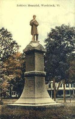 Soldiers Monument - Woodstock, Vermont VT Postcard