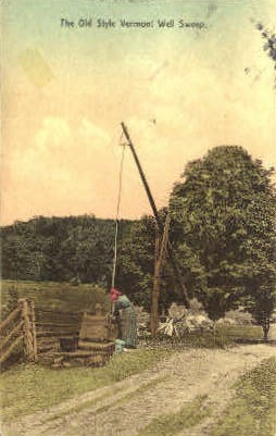 Old Style Vermont Well Sweep - Misc Postcard