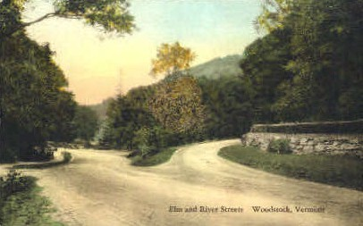 Elm Street - Woodstock, Vermont VT Postcard