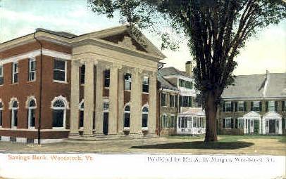 Savings Bank - Woodstock, Vermont VT Postcard