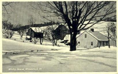 Winter - Woodstock, Vermont VT Postcard