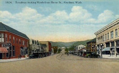 Heron Street - Aberdeen, Washington WA Postcard