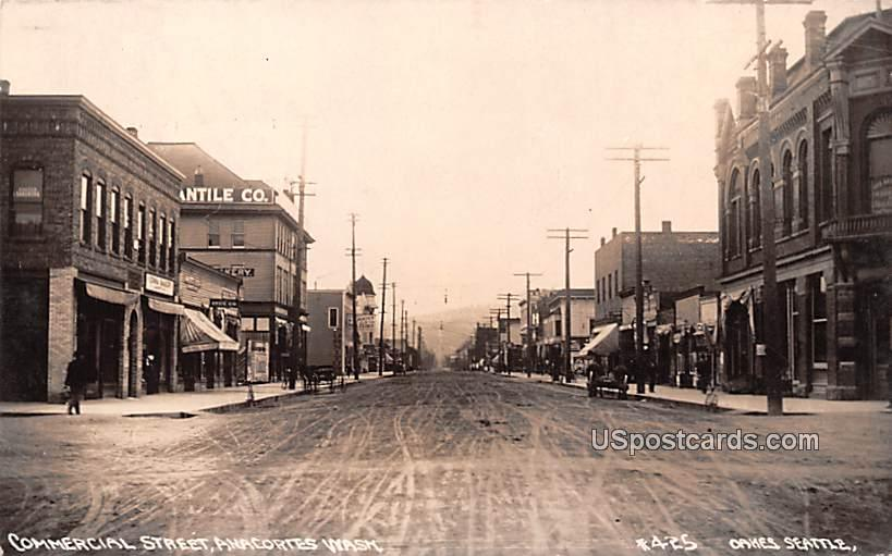 Commercial Street - Anacortes, Washington WA Postcard