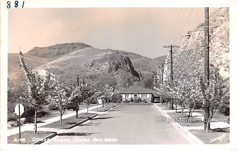 Street Scene - Coulee Dam, Washington WA Postcard