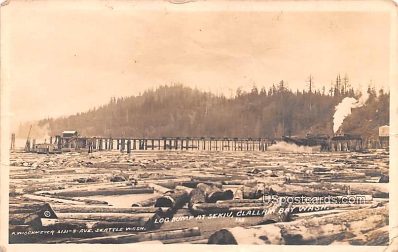 Log Dump at Sekiu - Clallam bay, Washington WA Postcard