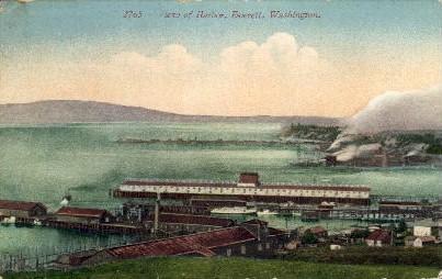 View of Harbor - Everett, Washington WA Postcard
