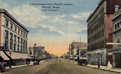 Colby Avenue  - Everett, Washington WA Postcard