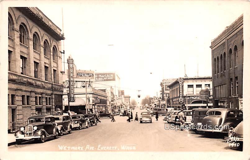 Wetmore Avenue - Everett, Washington WA Postcard