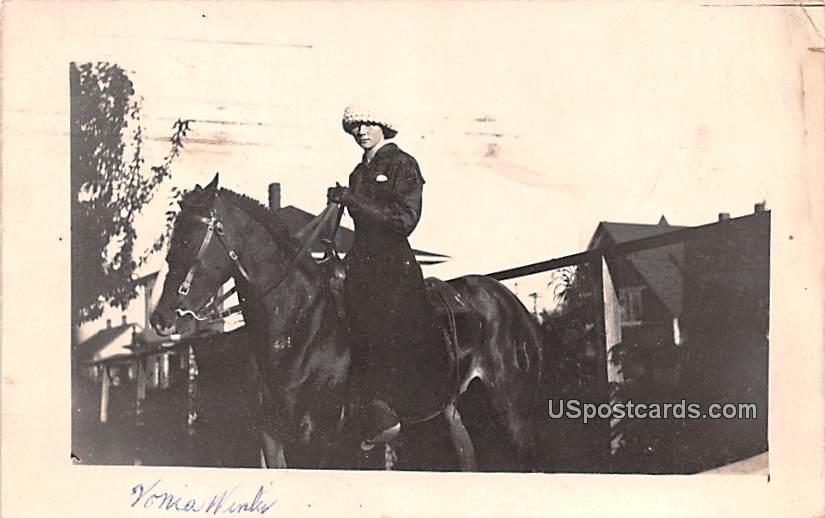 Woman Riding Horse - Everett, Washington WA Postcard