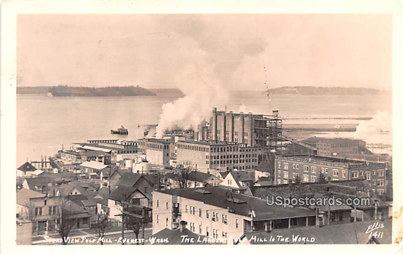 Sound View Pulp Mill - Everett, Washington WA Postcard