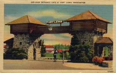 Main Entrance Gate - Fort Lewis, Washington WA Postcard