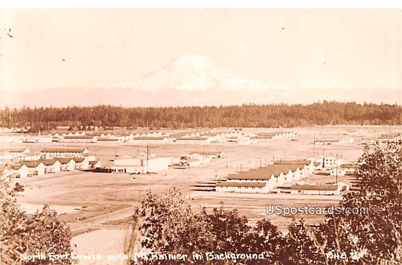 North with Mount Rainier in Background - Fort Lewis, Washington WA Postcard