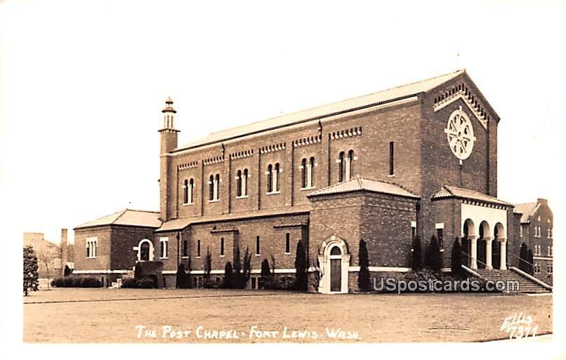 The Post Chapel - Fort Lewis, Washington WA Postcard