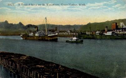 Waterfront - Grays Harbor, Washington WA Postcard