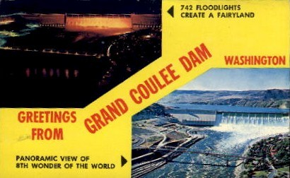 Greetings From - Grand Coulee Dam, Washington WA Postcard