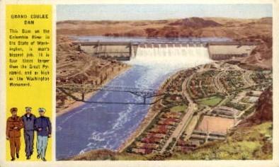 Dam on Columbia River - Grand Coulee Dam, Washington WA Postcard