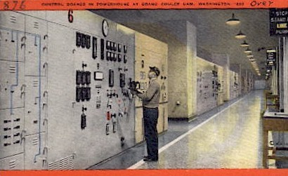Control Boards at Powerhouse - Grand Coulee Dam, Washington WA Postcard