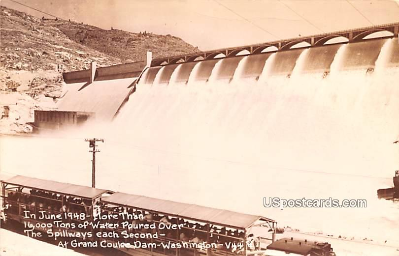 In June 1948 More than 16,000 tons of water poured over - Grand Coulee Dam, Washington WA Postcard