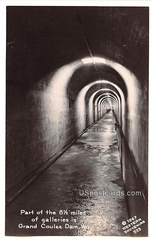 Part of the 8 1/2 Miles of Galleries - Grand Coulee Dam, Washington WA Postcard