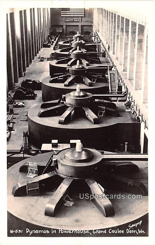 Dynamos in Powerhouse - Grand Coulee Dam, Washington WA Postcard