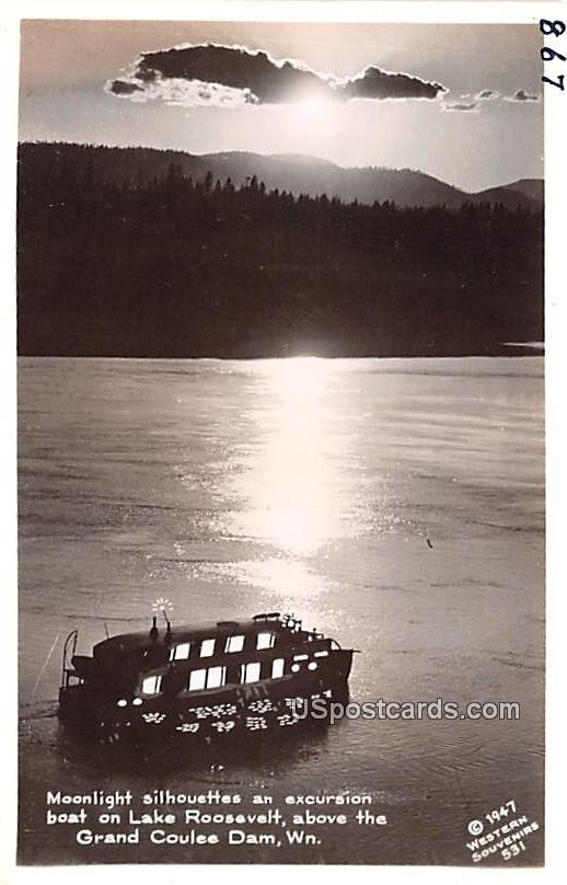 Moonlight Silhouettes - Grand Coulee Dam, Washington WA Postcard