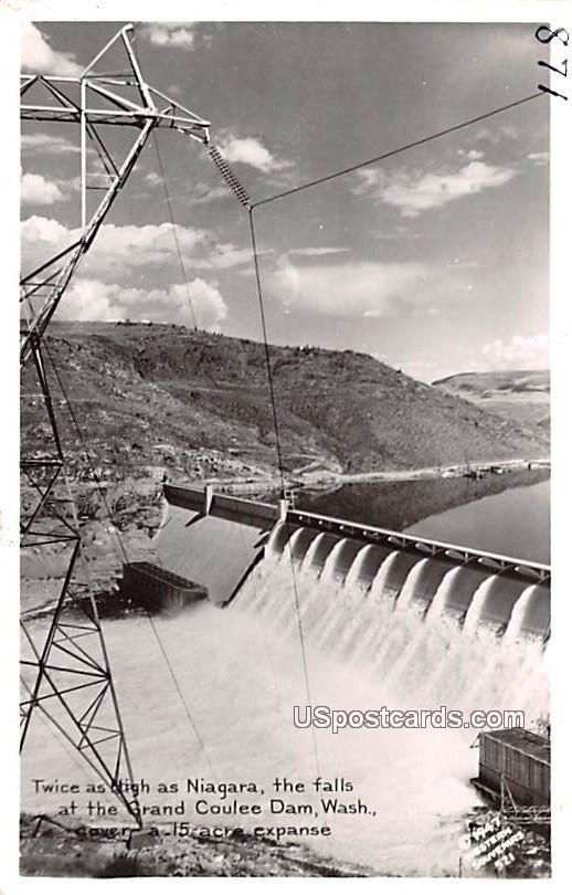Twice as high as Niagara - Grand Coulee Dam, Washington WA Postcard